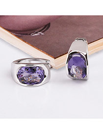 Trendy Purple+silver Color Diamond Decorated Simple Desgin Pure Color Earrings
