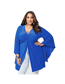 Sexy Blue Pure Color Decorated Long Sleeve Deep V Neckline Dress
