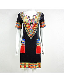 Sexy Black+red Geometric Shape Pattern Decorated Short Sleeve Dress