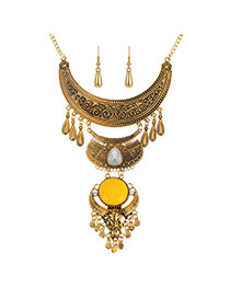 Trendy Gold Color+yellow Geometric Shape Pendant Decorated Simple Design Jewelry Sets