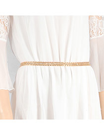 Delicate Gold Color Pure Color Simple Design Hollow Out Waist Chain