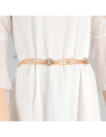 Trendy Gold Color Diamond& Flower Shape Decorated Multilayer Design Waist Chain