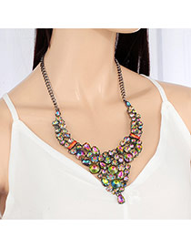 Elegant Multi-color Diamond Decorated Short Chain Simple Necklace