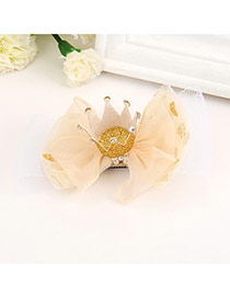 Sweet Yellow Crown Decorated Bowknot Shape Simple Hair Clip