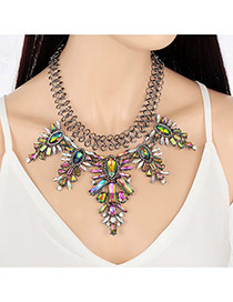 Exaggerated Multi-color Geometric Shape Diamond Decorated Short Chain Simple Necklace