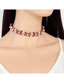 Fashion Plum Red Pearls&oval Shape Diamond Decorated Short Chian Necklace