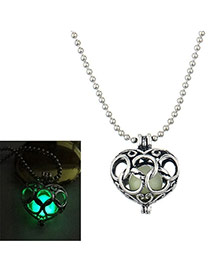 Vintage Green Hollow Out Heart Shape Pendant Decorated Noctilucence Necklace