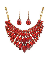 Fashion Red Waterdrop Shape Diamond Decorated Short Chain Jewerly Sets