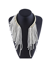 Fashion Yellow+white Bead Decorated Long Tassel Design Openning Necklace