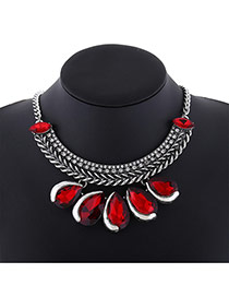Exaggerate Red+silver-color Waterdrop Shape Diamond Decorated Simple Collar Necklace