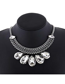Elegant Silver-color Waterdrop Shape Diamond Decorated Simple Collar Necklace