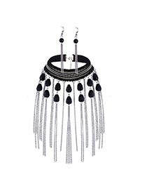 Delicate Silver Color Tassel& Bead Pendant Decorated Simple Design Jewelry Sets
