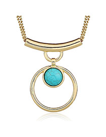 Fashion Blue+golden Color Hollow Out Round Shape Pendant Decorated Simple Design Necklace