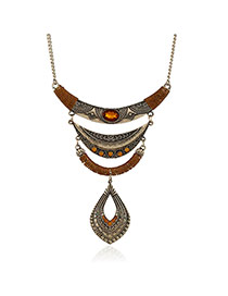 Fashion Brown Hollow Out Waterdrop Shape Pendant Decorated Irregualr Shape Necklace