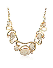 Fashion White+golden Color Oval Shape Diamond Decorated Hollow Out Necklace