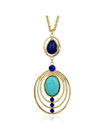 Fashion Multi-color Hollow Out Oval Shape Pendant Decorated Simple Necklace