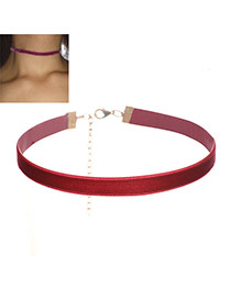 Trendy Claret-red Pure Color Decorated Simple Design Choker