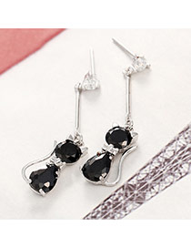 Fashion Black Diamond Decorated Cat Shape Simple Earrings