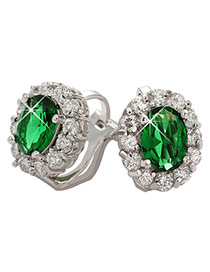 Fashion Green Oval Shape Diamond Decorated Simple Design Earrings