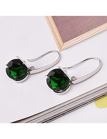 Fashion Green Round Shape Diamond Decorated Simple Design Earrings