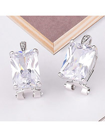 Fashion White Square Shape Diamond Decorated Simple Design Earrings