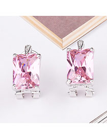 Fashion Pink Square Shape Diamond Decorated Simple Design Earrings