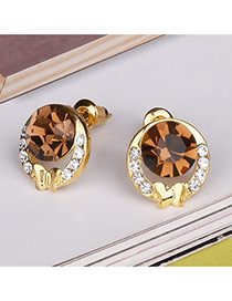 Elegant Yellow Round Shape Diamond Hollow Out Design Earrings