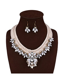Fashion White Diamond Decorated Flower Shape Design Hand-woven Jewelry Sets