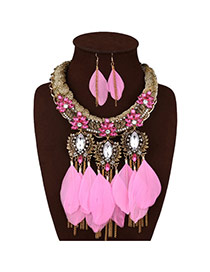 Fashion Pink+golden Color Feather&tassel Pendant Decorated Simple Jewelry Sets
