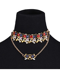 Fashion Golden Color Geometric Shape Diamond Decorated Double Layer Necklace