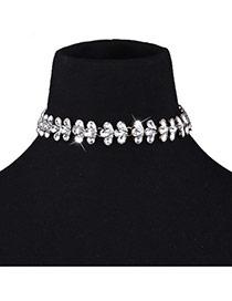 Fashion White Water Drop Shape Diamond Decorated Flower Shape Simple Necklace
