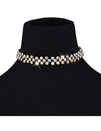 Fashion Multi-color Full Diamond Decorated Short Chain Simple Necklace