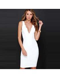 Sexy White Pure Color Design V Neckline Sleeveless Package Hip Long Dress