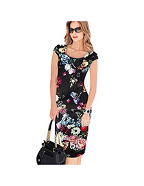 Sexy Black Painting Flower Pattern Decorated Short Sleeve Package Hip Pencil Dress