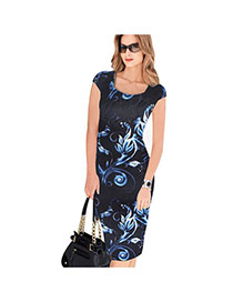 Sexy Dark Blue Painting Flower Pattern Decorated Short Sleeve Package Hip Pencil Dress