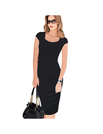 Sexy Black Pure Color Design Short Sleeve Package Hip Slim Pencil Dress