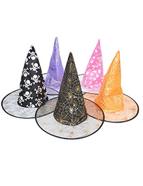 Exaggerated Color By Random Multielement Pattern Decorated Perspective Halloween Lace Wizard Hat