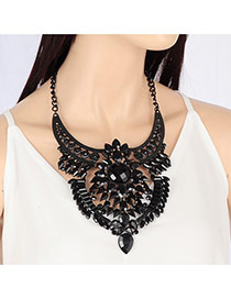 Fashion Black Water Drop Shape Diamond Decorated Short Chain Simple Necklace