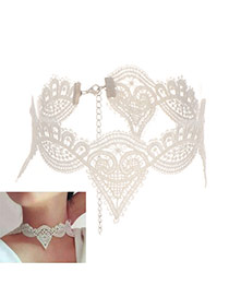 Fashion White Heart Shape Design Hollow Out Pure Color Choker