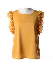 Trendy Yellow Bowknot Decorated Round Neckline Sleeveless Simple Chiffon Blouse