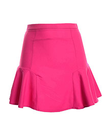 Fashion Plum Red Pure Color Design High-waisted Patchwork Mini Chiffon Fishtail Skirt
