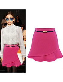 Fashion Plum Red Pure Color Design Irregular Shape Simple Skirt (without The Waistbelt)