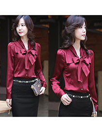 Fashion Claret Red Bowknot Decorated Pure Color V Neckline Long Sleeve Chiffon Blouse