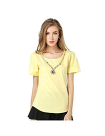 Casual Yellow Pure Color Design Round Neckline Puff Sleeve Larger Size Chiffon Blouse (without Necklace)