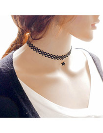 Fashion Black Metal Star Pendant Decorated Hollow Out Simple Choker