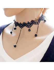 Retro Black Tassel Decorated Holow Out Simple Tassel Choker