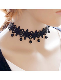 Vintage Black Beads Pendant Decorated Hollow Out Chian Choker