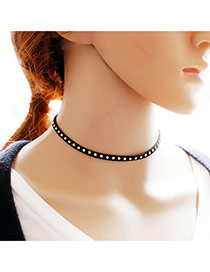 Vintage Black Rivet Shape Decorated Pure Clor Simple Choker