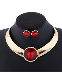 Exaggerate Red Round Shape Diamond Decorated Simple Jewelry Sets