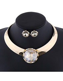 Exaggerate Champagne Round Shape Diamond Decorated Simple Jewelry Sets